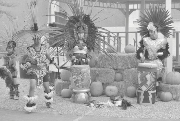 Members of the Aztec dance troupe performed for the crowd at the 2018 White Buffalo Days celebration.