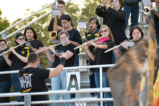 Members of the Snyder High School Pride of the West Marching Band performed during Friday's 36-12 win over San Angelo Lake View.
