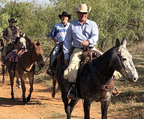 Riders (l-r) Chris Brown, Gaylen Hinch and Donnie Maines participated in the Long Ear Trail Ride, which raised funds for the Ben Richey Boys Ranch in Abilene this past weekend.