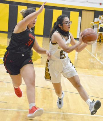 Snyder sophomore Amy Martinez (right) made a pass during a game earlier this season. The Lady Tigers faced Shallowater at noon Saturday.