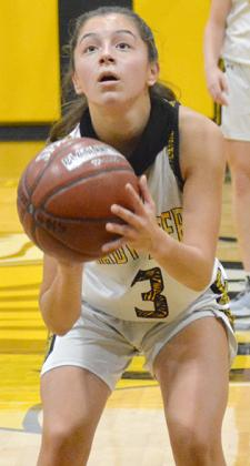 Snyder junior Taryn Nobles scored two points in a 62-50 loss to New Home Tuesday. The Lady Tigers will host Jayton at 6 p.m. on Tuesday.