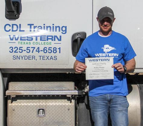 WTC's 100th CDL program graduate Kolby Rister posed with his certificate.